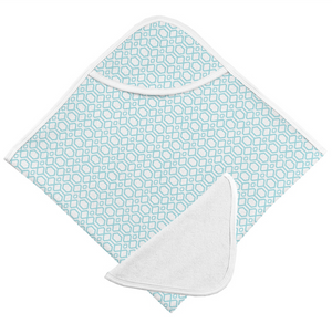 Hooded Bath Towel & Washcloth Set | Turquoise Octagon
