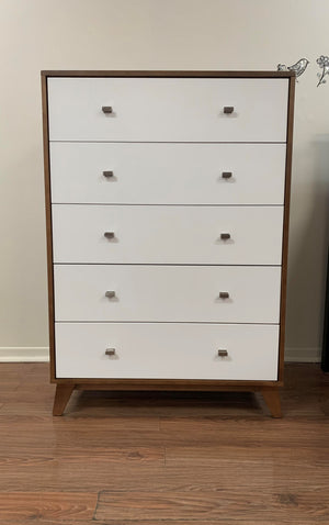 Versailles 5-Drawer Chest | White + Walnut