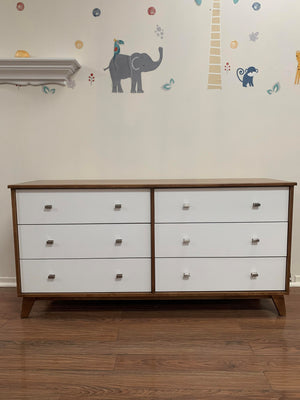 Versailles 6-Drawer Dresser | White + Walnut