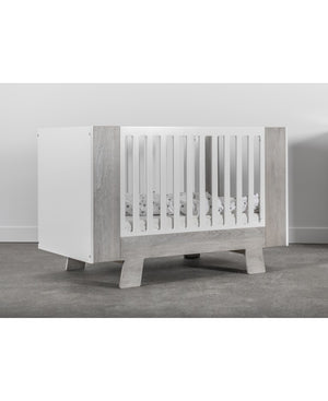 Dutailier Pomelo Crib | White + Rustic Grey