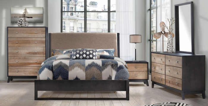 Iris Collection Bed | Java + Walnut