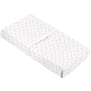 KUSHIES Organic Jersey Change Pad Fitted Sheet | Pink Feathers
