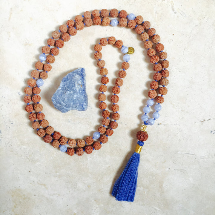 EXPRESSION: Blue Lace Agate Aloha Mala Necklace