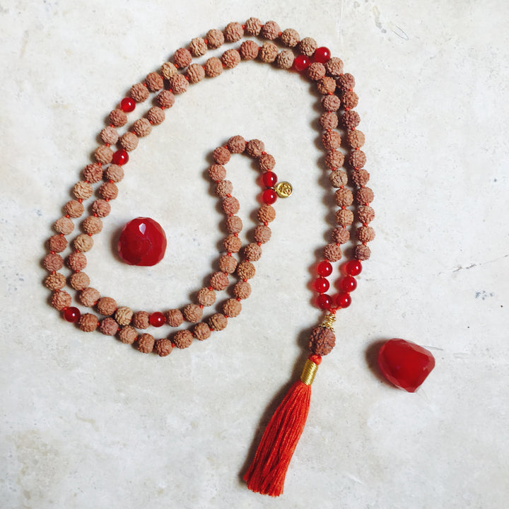 PASSION: Carnelian Aloha Mala Necklace