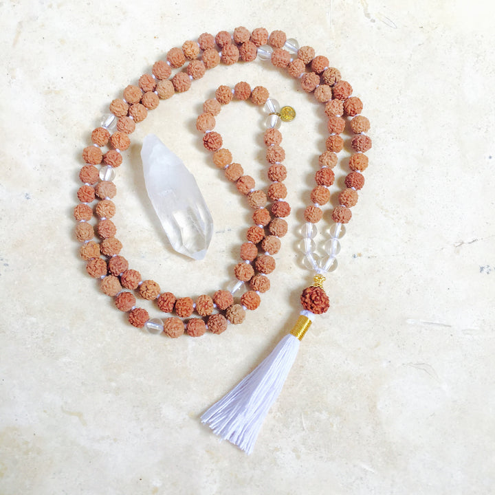 PEACE: Clear Quartz or Moonstone Aloha Mala Necklace