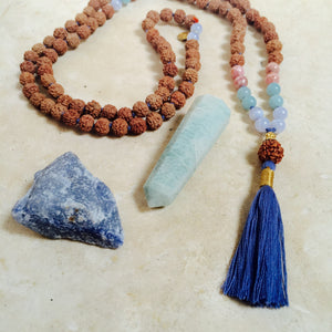 BLISS: Blue Lace Agate, Amazonite + Rhodochrosite Aloha Mala Necklace