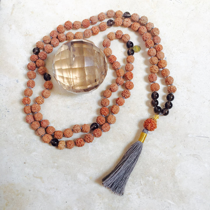 GROUNDING: Smoky Quartz Aloha Mala Necklace