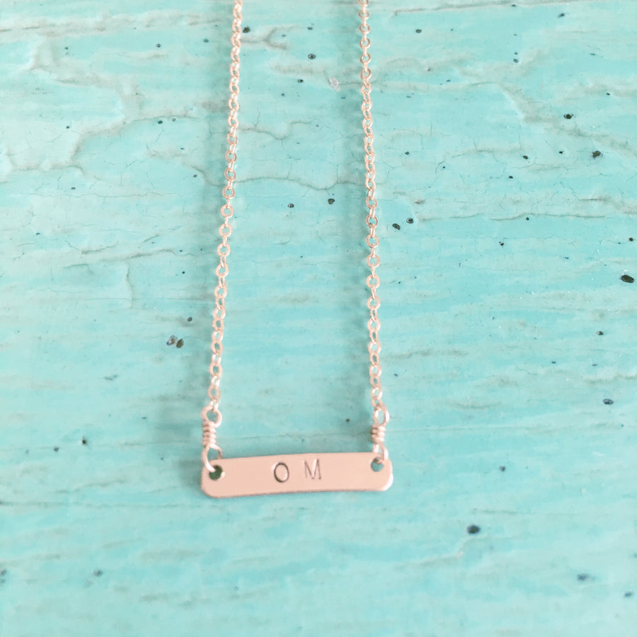 Om Stamped Necklace