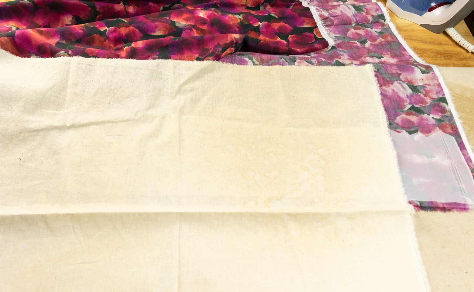 How to Block Fuse Fabric - Step 4 - Place press cloth on top of interfacing and fashion fabric