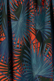 100% Rayon Challis - Palms in Scarlet and Navy - 1/4 yard