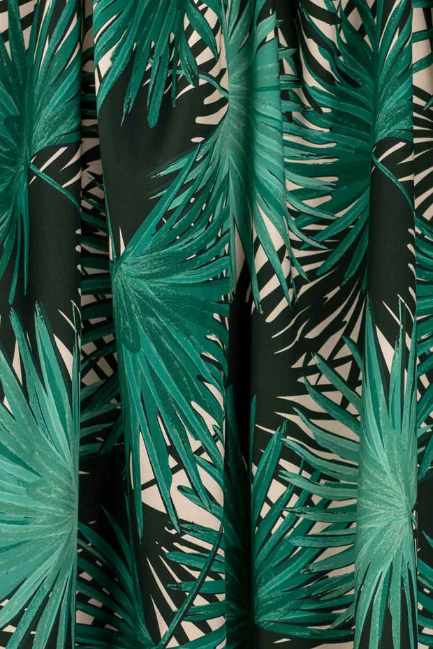 100% Rayon Challis - Palms in Jade and Blush - 1/4 yard