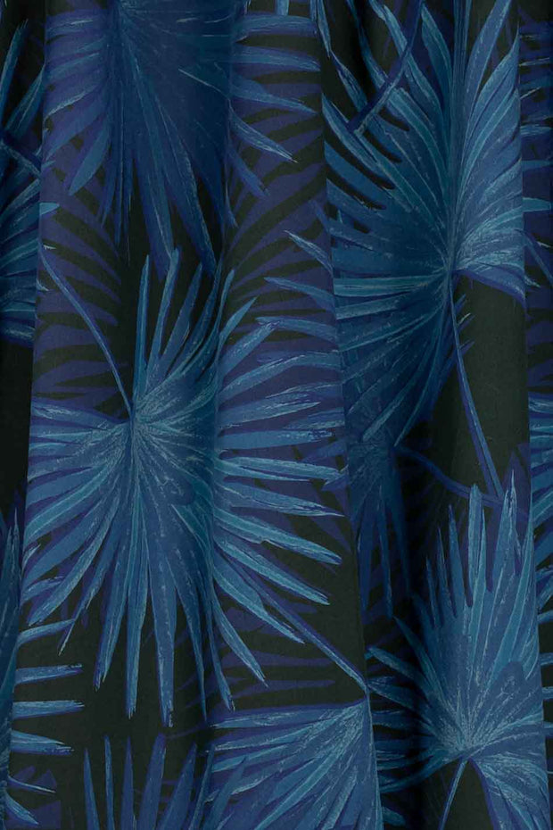 100% Rayon Challis - Palms in Navy and Black - 1/4 yard