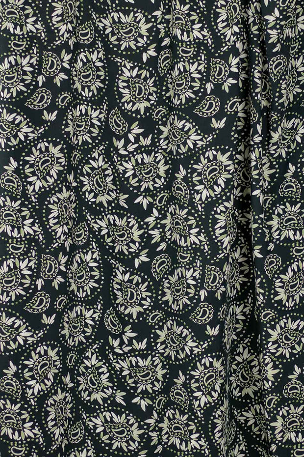 100% Rayon Challis - Loose Paisley in Monochrome - 1/4 yard