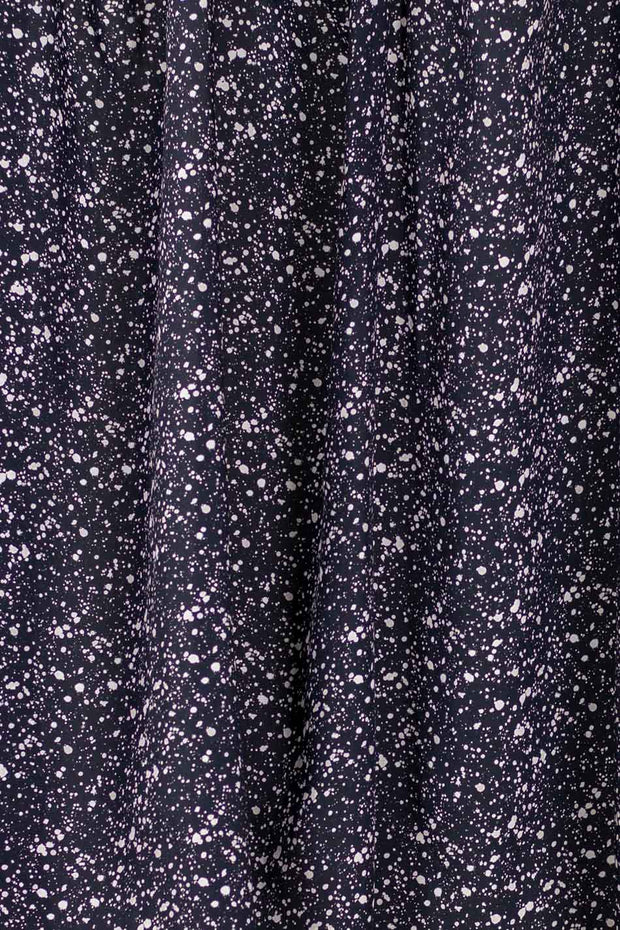100% Rayon Challis - Splatter Black and Bone - 1/4 yard