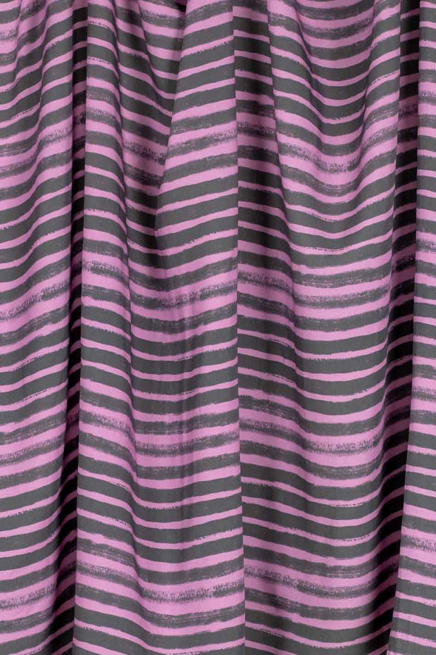 100% Rayon Challis - Ombre Stripe Dusk and Gray - 1/4 yard