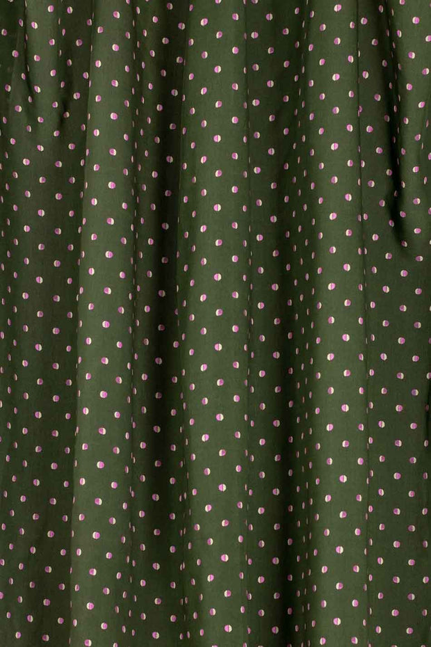 100% Rayon Challis - Easy Dots in Olive - 1/4 yard