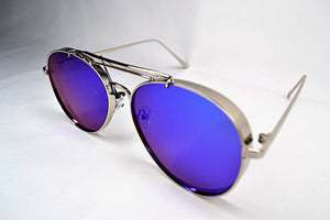 Sunglasses - Silver/Blue Aviators