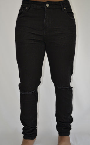 Ripped Skinny Jeans (Black)