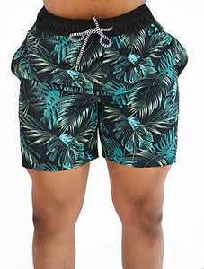 Beach Shorts (Black Palms)