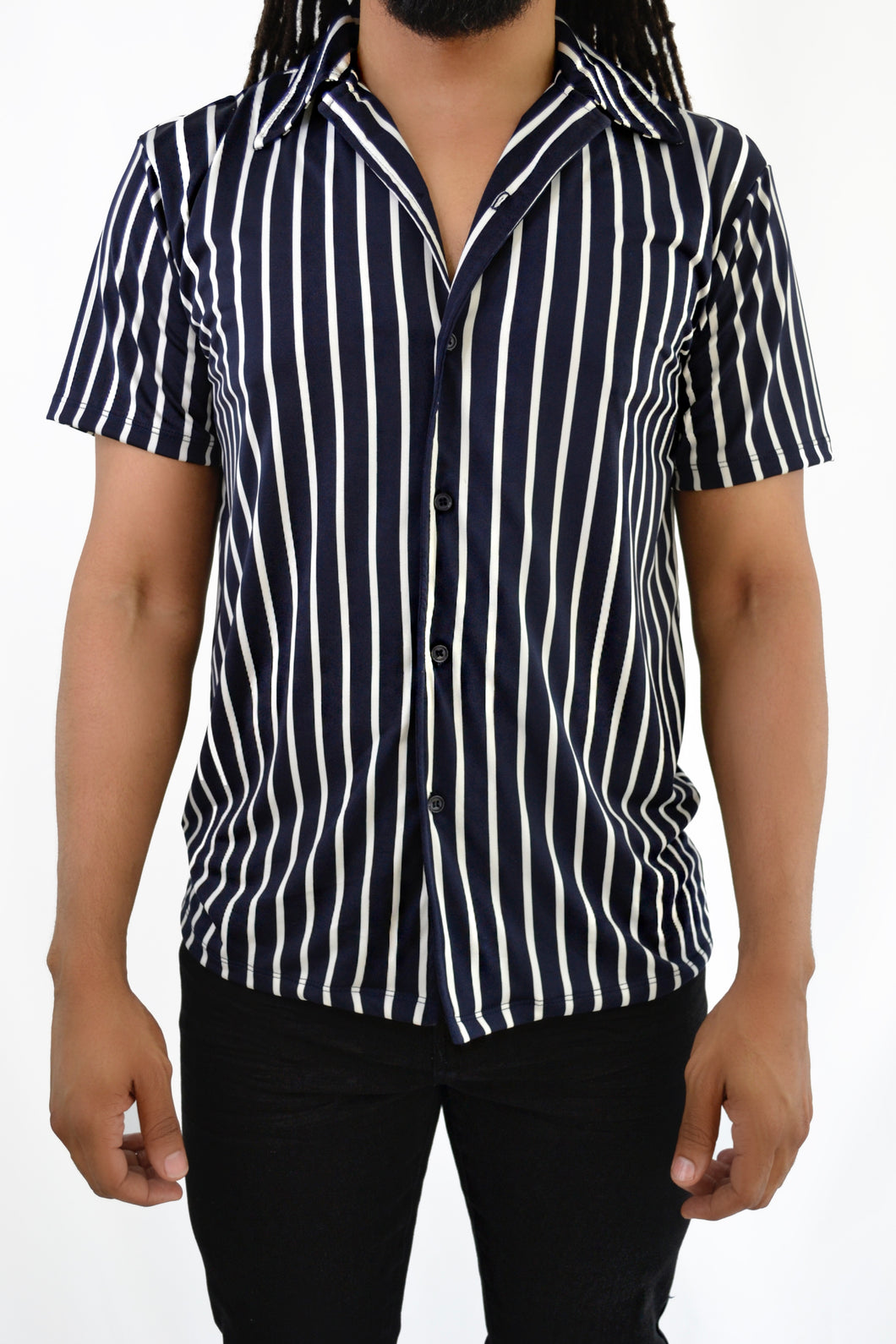 Striped Button-up Shirt (Blue)