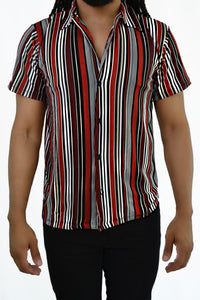 Striped Button-up Shirt (Red)