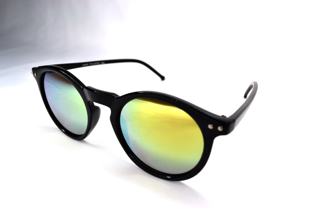 Sunglasses - Black/Yellow Round