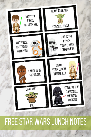 Free Star Wars + Baby Yoda Lunch Box Notes