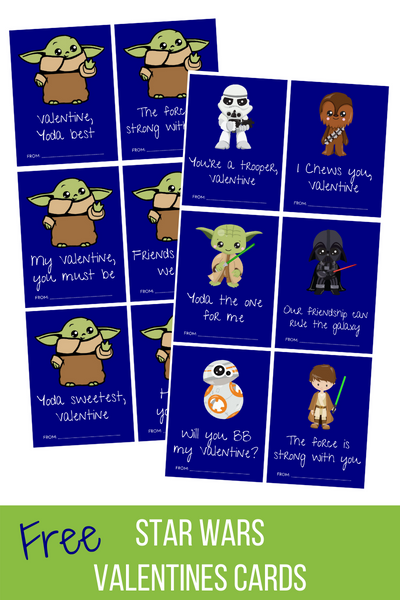 Star Wars + Baby Yoda Valentine's Day Cards Freebie