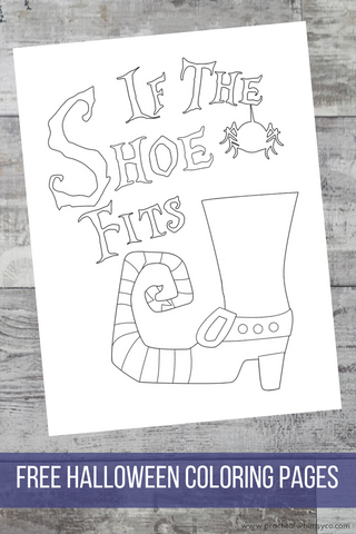 witch if the shoe fits halloween coloring page