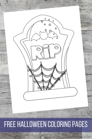 tombstone halloween coloring page