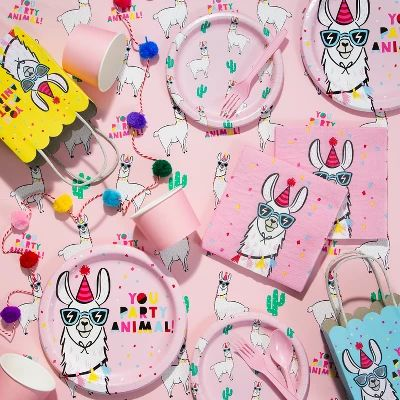 llama birthday party paper products