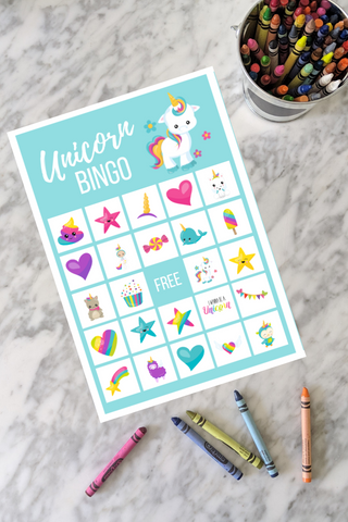 rainbow unicorn bingo game