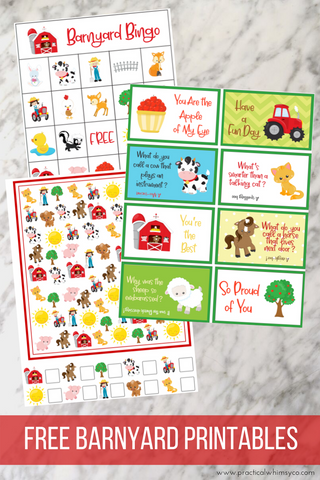 barnyard printable freebies, bingo, lunch notes, i spy