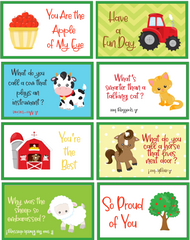 barnyard themed lunch box notes