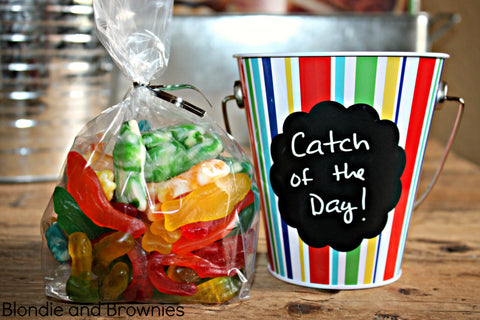 gummy worms fishing birthday party favor