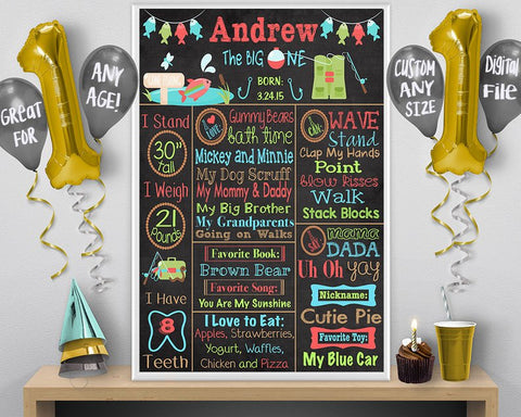 chalkboard fishing birthday party poster