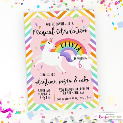 rainbow unicorn birthday party invitation
