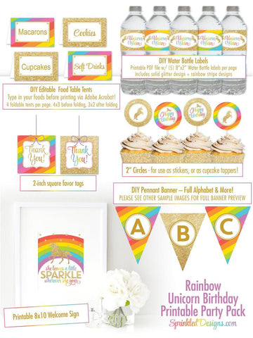 unicorn decorations banner labels