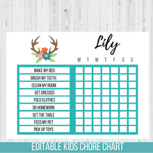 Load image into Gallery viewer, Chore Chart Tribal Antler, Editable Reward Chart
