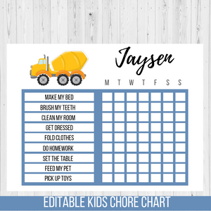 Chore Chart Construction Truck, Editable Reward Chart