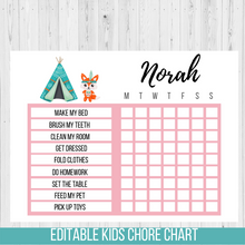 Load image into Gallery viewer, Chore Chart Tribal Fox, Editable Reward Chart