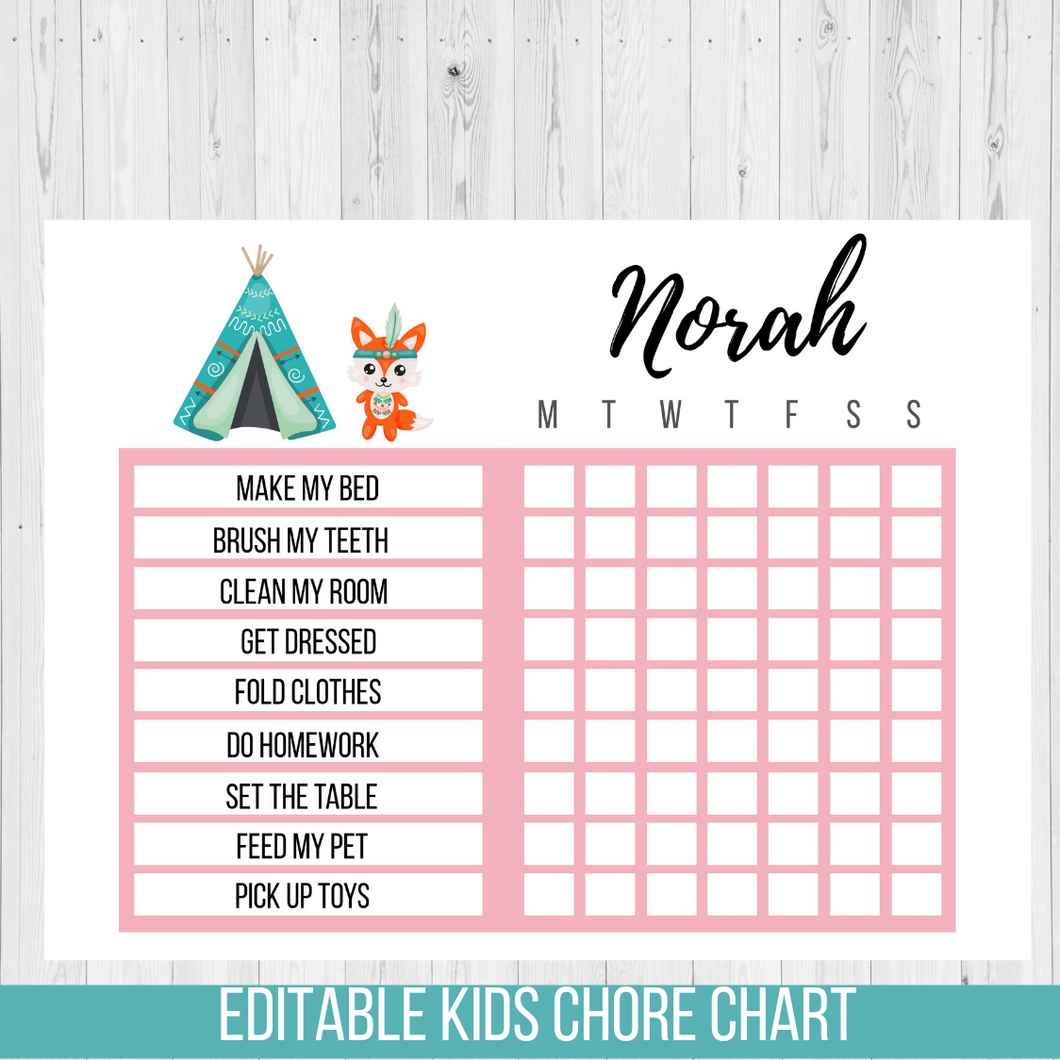 Chore Chart Tribal Fox, Editable Reward Chart