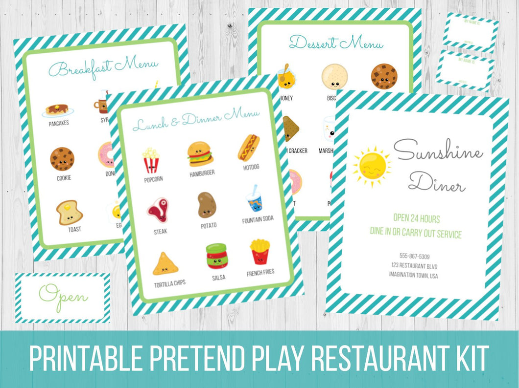 Pretend Play Restaurant Menu Printable