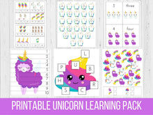 Load image into Gallery viewer, Rainbow Unicorn Preschool Learning Pack