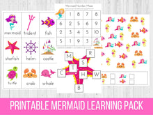 Load image into Gallery viewer, Mermaid Printable Preschool Learning Pack