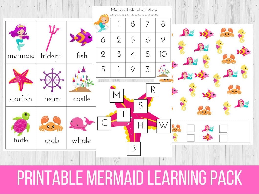 Mermaid Printable Preschool Learning Pack