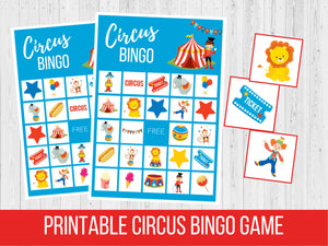 Circus Theme BINGO Cards, Birthday Party Game