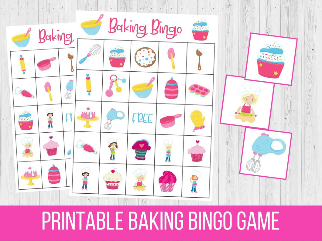 Baking BINGO Printable, Cupcake Birthday Party