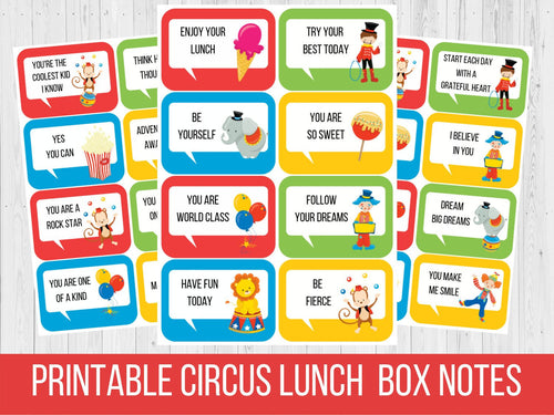 Lunch Box Notes Circus Theme