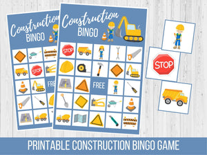 Construction Birthday BINGO Game